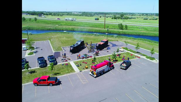 One of the vendors at 2017 South Dakota Fire School in Mitchell was Aerial Horizons Commercial Drone Systems of Sioux Falls, which provided this aerial view of training in the burn trailers at fire school.