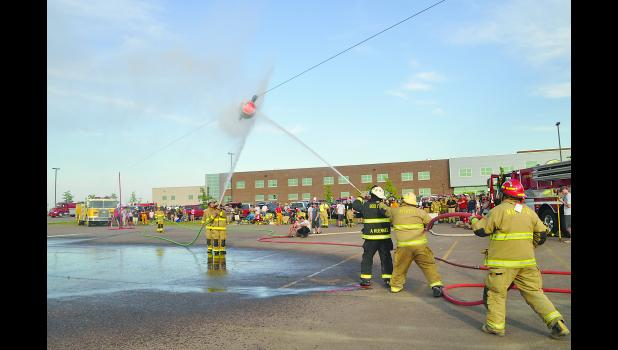 Water fights provided some fun entertainment and competition on Friday night, June 9, at the 2017 South Dakota Fire School in Mitchell. Photo by Jeff Gargano.