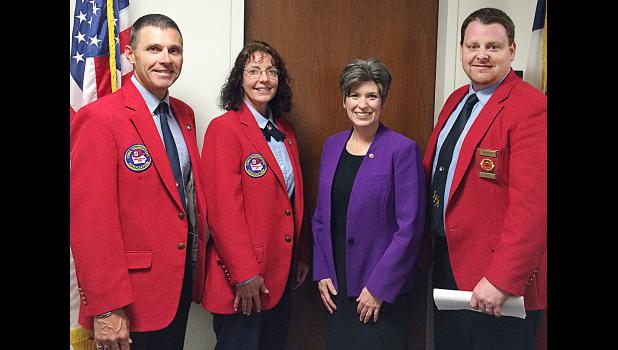 IFA officers Mark McNees, Wendy Lensing and Brad Yeager met with Senator Joni Ernst in Washington, DC, on April 15 to discuss issues of importance to the fire service.