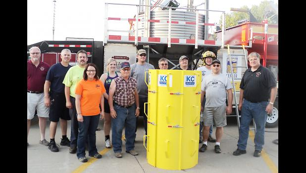 Training came next after the York Fire Department won an aluminum grain rescue tube from Nationwide. Value of the tube and this hands-on training is $8,000. (Courtesy photo)